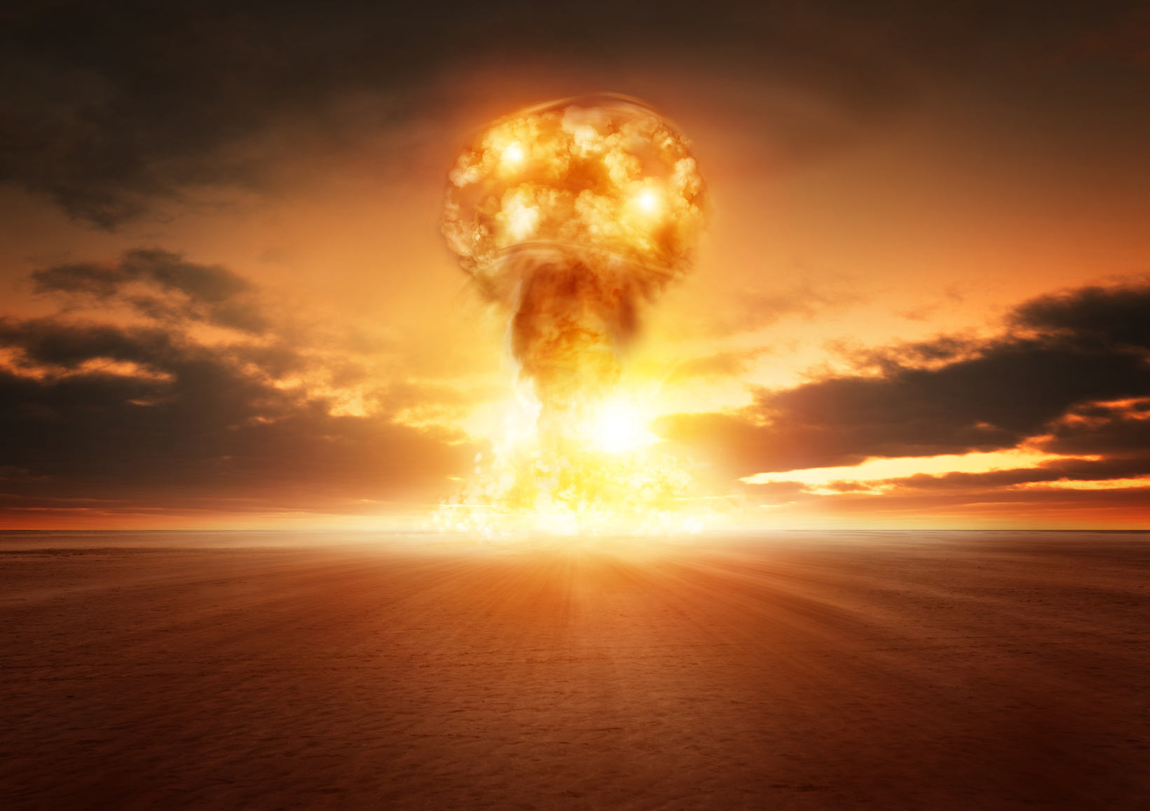 A modern nuclear bomb explosion in the desert.