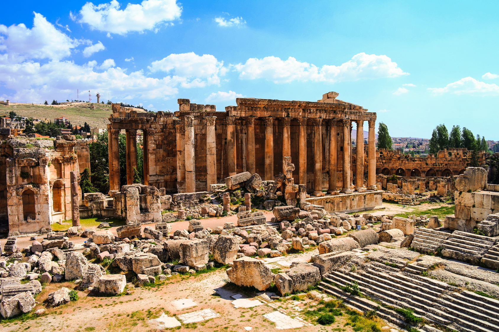Ruins of Bacchus temple in Baalbek, Bekaa valley, Lebanon