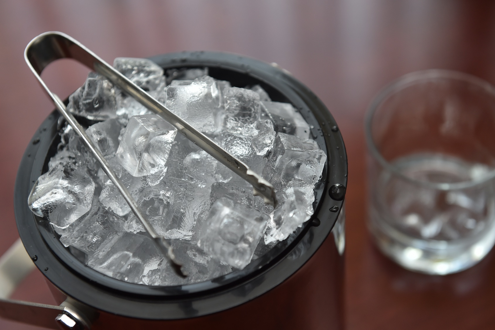 Ice cubes in the bucket
